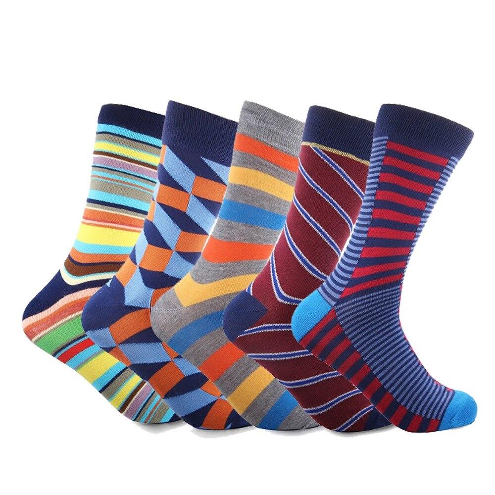 New Gentlemen Combed Cotton Colorful Socks Mens Dress Socks Crew Chaussette Homme
