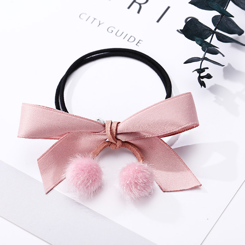 Women Simple Solid Bow Fuax Fur Ball Two Layers Elastic Hair Bands Cute Ponytail Holder Hair Ropes Rubber Bands Hair Accessories