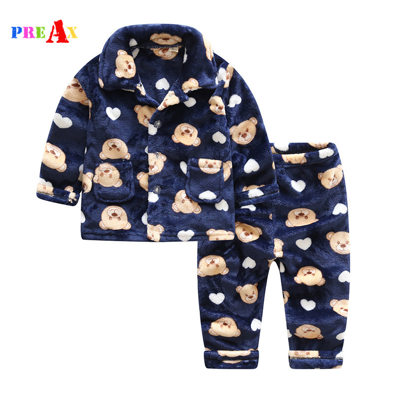 Winter and Autumn Children Fannel Pyjamas Boys and Girls Clothes Set Baby Sleep Wear Clothes Children Sets Long Sleeve Cartoon zea rtm0911 1 children s panda style super soft autumn winter wear cap scarf set blue