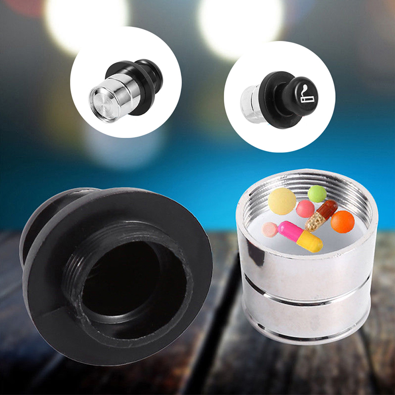 1pc Car Lighter Shape Pill Box Car Lighter Shaped Metal Safe Secret Stash Diversion Pill Box Container
