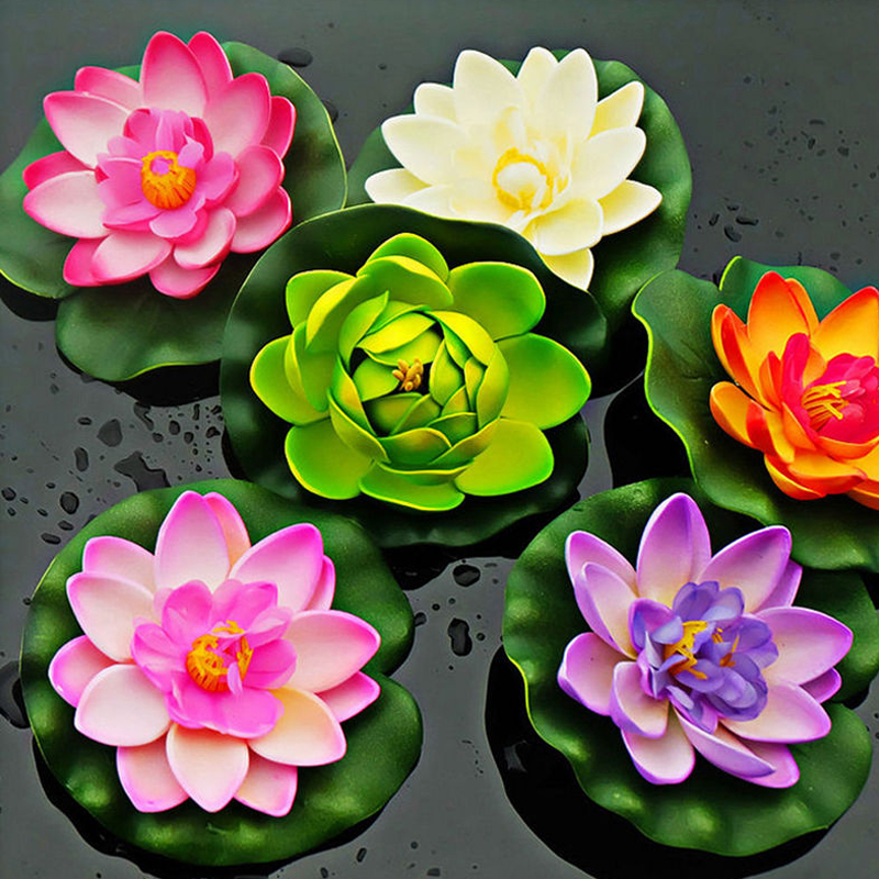 Cheap Fake Lotus Flower For House Decoration Fish Tank Accessories Colorful Artificial Fake Flower For Wedding