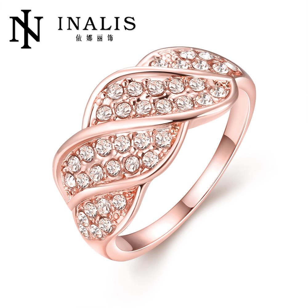 2016 new yellow rose gold color ring set zircon for women wedding ...