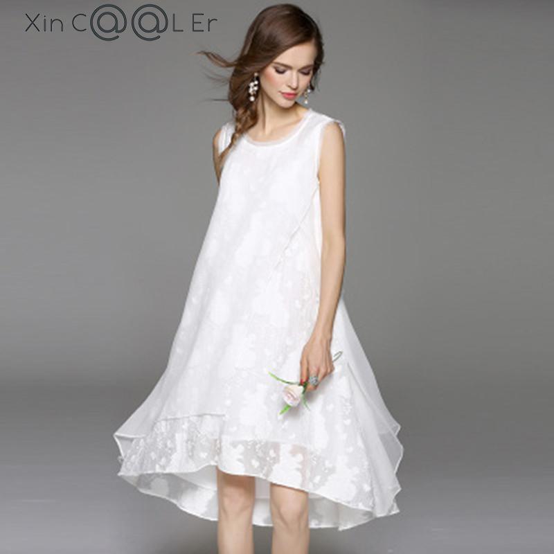 Cool 2018 Doprava zdarma Nový jarní podzim bavlněné prádlo módní ženy dlouhé černé bílé šaty Loose bez rukávů velikost šaty