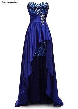 Hi-Lo Royal Blue Prom Dresses 2019 Sequins Crystal Sweetheart Lace Up Back Satin Formal Party Gowns Vestidos De Festa Cheap
