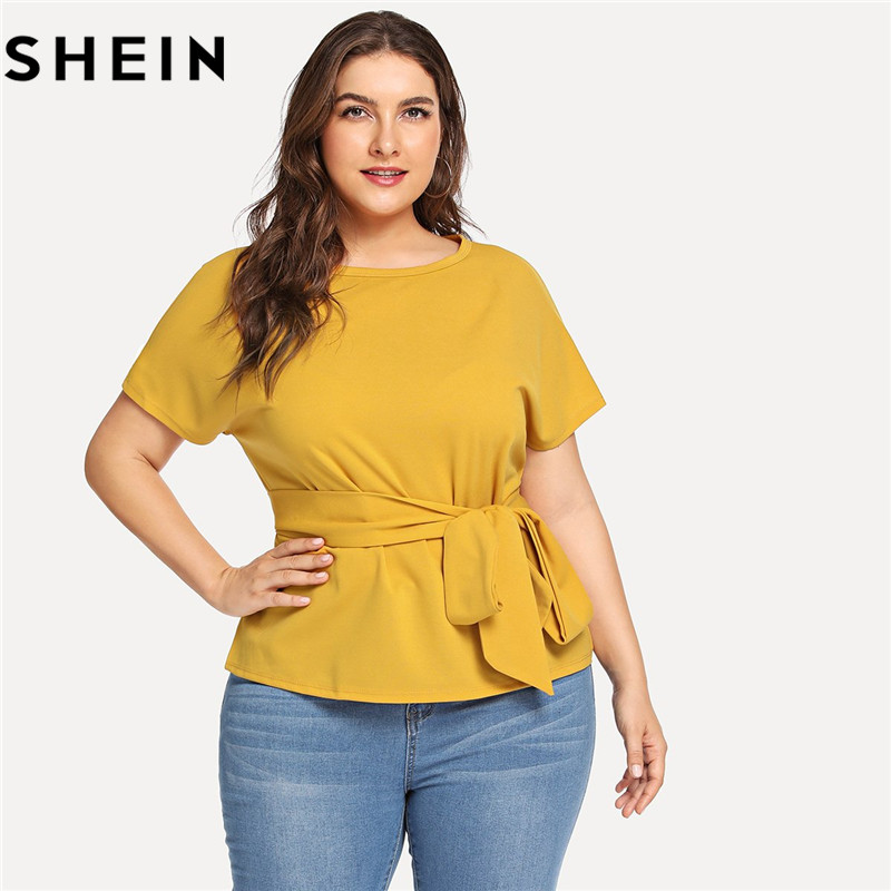 SHEIN Ginger Casual Belted O Neck Raglan Short Sleeve Plus Size Women Blouses Summer Elegant Tie Waist Solid Blouse With Sashes