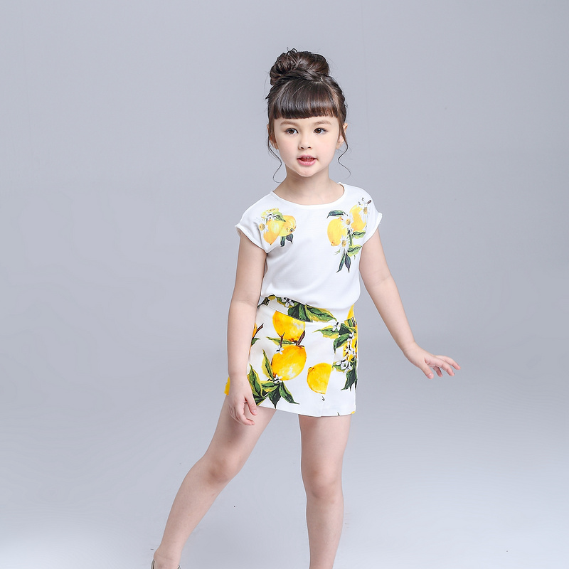 Girls Clothing Set Lemon Printed Brand Shirt + Skirt Suit Kids Girls Clothes Fashion Children Clothing Outfit Summer Clothes Set chamsgend summer kids cute baby girls vest pleated dress two pieces set clothes children skirt suit jan7 s25