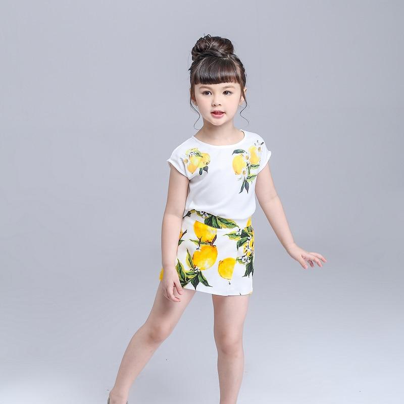 Girls Clothing Set Lemon Printed Brand Shirt + Skirt Suit Kids Girls Clothes Fashion Children Clothing Outfit Summer Clothes Set