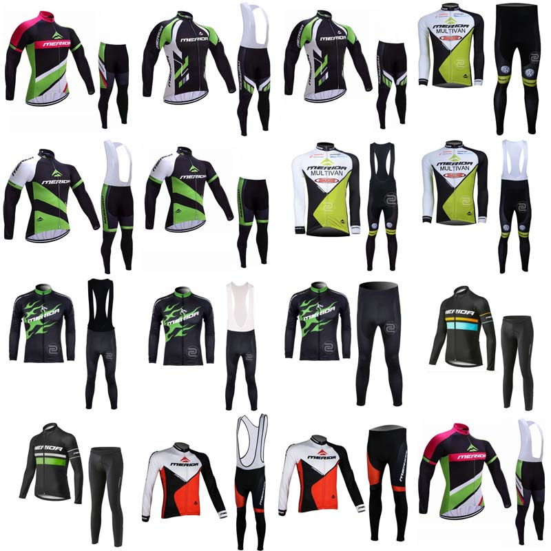 2018 Spring Summer Merida Team Cycling long Sleeves jersey bib pants sets 3D gel pad Men Bike Clothing Breathable Quick dry G204 summer sports cycling clothes men s cycling jersey sets breathable quick dry mountain bike sports wear for spring women new