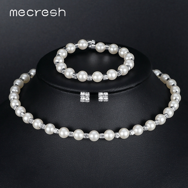 Mecresh Simulated Pearl Bridal Jewelry Sets Crystal Choker Necklace Earrings Bracelet Wedding Jewelry sets for women New M3TL081