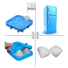 NEW 4 Cavity Diamond Shape 3D Ice Cube Mold Maker Bar Party Silicone Trays Chocolate Mold Ice Cream Tools