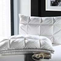 48*74 cm Color blanco de lujo pan estilo rectángulo ganso/pato abajo almohadas de algodón a prueba de plumón tela suave almohada