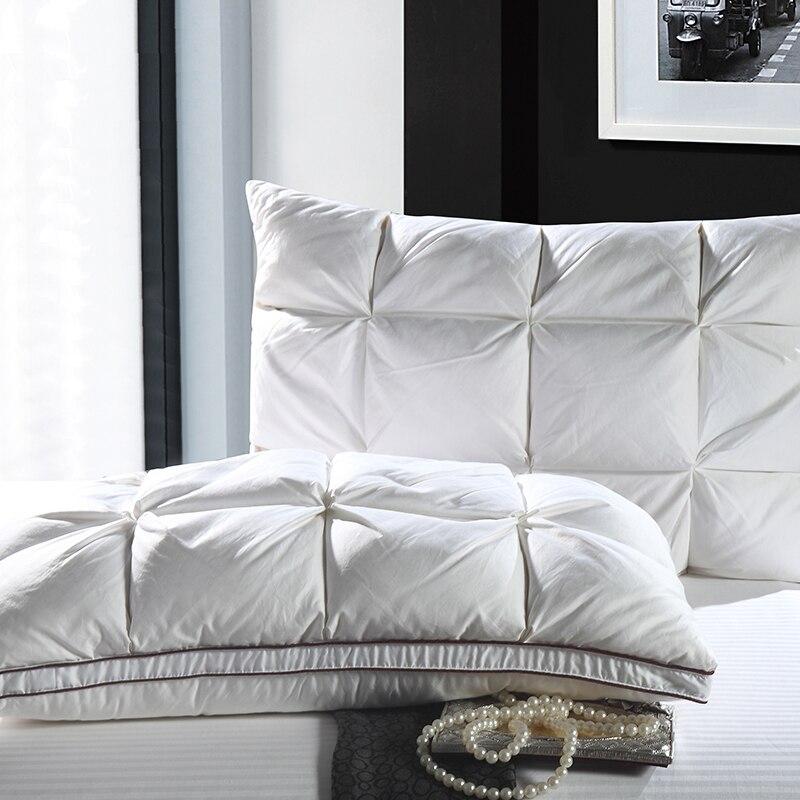 48*74 cm Cor Branca luxo Estilo Pão Retângulo Ganso/Pato Para Baixo Algodão Travesseiros da Cama Para Baixo-prova tecido Macio Travesseiro