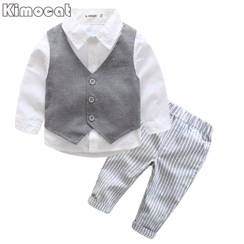 Gentleman boy clothes clothing australia 2017 spring child country clothing set boys vest formal suit brand three piece suits