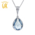 Gemstoneking checkerboard almofada em forma de pêra simulado aquamarine 925 sterling silver pendant necklace para mulheres