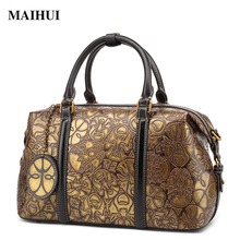 MAIHUI women leather handbags new designer chines style shoulder bags high quality cowhide real genuine leather boston bags