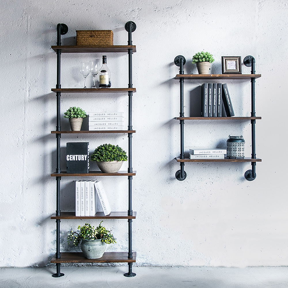 Us 75 82 35 Off 3 Tier Industrial Iron Pipe Wall Shelves Wood Planks Diy Ladder Bookcase Storage Floating Shelf For Bathroom Kitchen Home Decor In