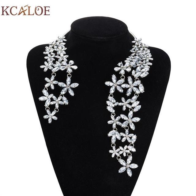 KCALOE 2017 Marca de diseño de Moda Flor de Cristal Collar para Las Mujeres Del Encanto Vestido de Fiesta Abierto Accesorios Collar Largo