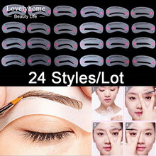 24pcs/Lot Plastic Eye Brow Model Template Stencils Shaping Painted Grooming Eyebrow Drawing Guide Card DIY Makeup Tools