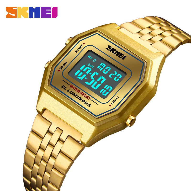 b90293d9184 Comprar Mulheres SKMEI Relógio de Luxo À Prova D Água Relógio Digital de  Relógio de Aço Inoxidável Das Senhoras Casuais Ms. Mulheres Relogio Relogio  ...