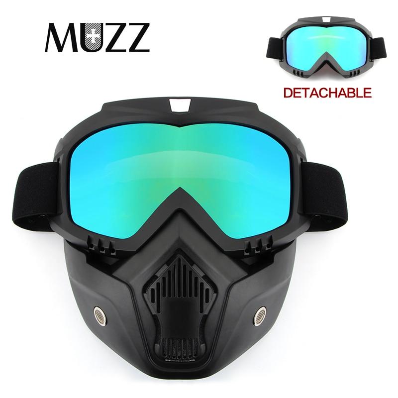 MUZZ Открытый очки мотоциклетные очки открытым лицом съемная, для Винтаж шлемы Motorcorss маска для лица очки