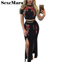 Floral Embroidery Split Dress Suit 2 Piece Set Women Skirt And Top Set Black Hollow Out