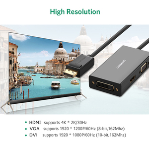 Image 4 - Ugreen 3 ב 1 Displayport DP כדי HDMI VGA DVI מתאם 4K זכר לנקבת תצוגת יציאת כבל ממיר עבור HP מחשב נייד מקרן