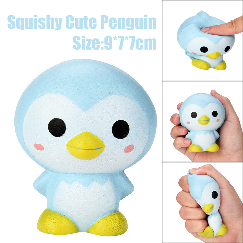 9cm Cute Penguin Cartoon Scented Squishy Charm Slow Rising Squeeze Toy Charm Wipes Anti-stress Kawaii Stationery Toys A1