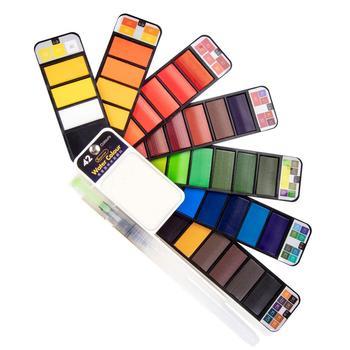 Superior 18 25 33 42 kolor stały zestaw akwareli z pędzel wodny przenośny Pigment kolorowy dla początkujących materiały do rysowania tanie i dobre opinie CN (pochodzenie) 8 lat 8 ml XPGTSC Wodne farby w różnych kolorach Papier