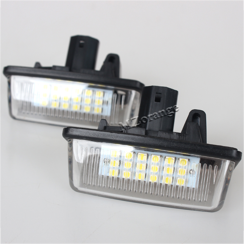 For Toyota Corolla_E11 Crown S180 Starlet EP91 Vios Previa ACR50,GSR50 2Pcs Car 12V 18LED License Plate Lights SMD 2x car led license plate lights 12v smd3528 led number plate lamp bulb kit for toyota crown s180 corolla vios previa accessories