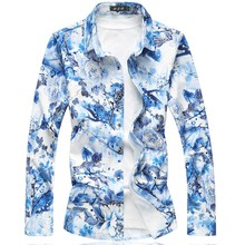 Multi Color Shirt Men 2018 Autumn New Long Sleeve Floral Shirt For Men Clothing Turn Down Collar Loose Plus Size Men's Shirts