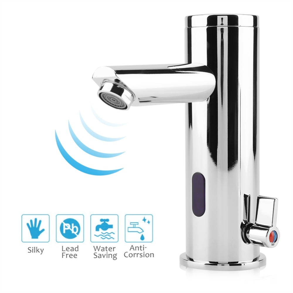 Automatic Sensor Faucet Battery Powered Bathroom Basin Toilet Infrared Cold Warm Mixer Tap Deck Mounted Sink