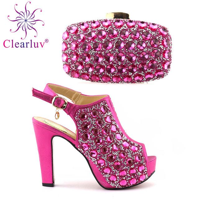 Clearluv African Matching Shoes and Bags Italian In Women fuchsia Italian  Shoes with Matching Bags Set Decorated with Rhinestone 432163dd0294