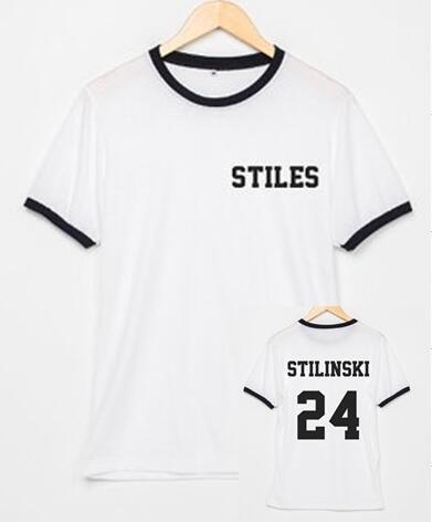 T-shirts de algodão para mulheres t camisa gráfica tshirts streetwear camiseta teen wolf stiles stilinski 24 ringer camisetas tumblr