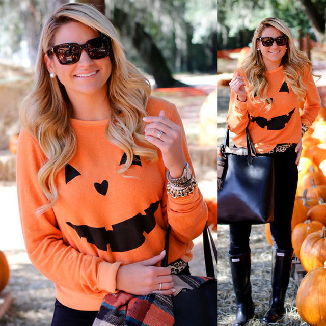 Halloween Pumpkin Print Long Sleeve Sweatshirt Pullover