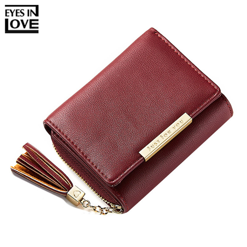 EYES IN LOVE Tassel Women Short Wallets Trifold Ladies Small Purse Zipper Coin Pocket Card Holder Female Wallet High Quality fashion women wallets multi function high quality small wallets rivet love short design three fold wallet coin purse for women