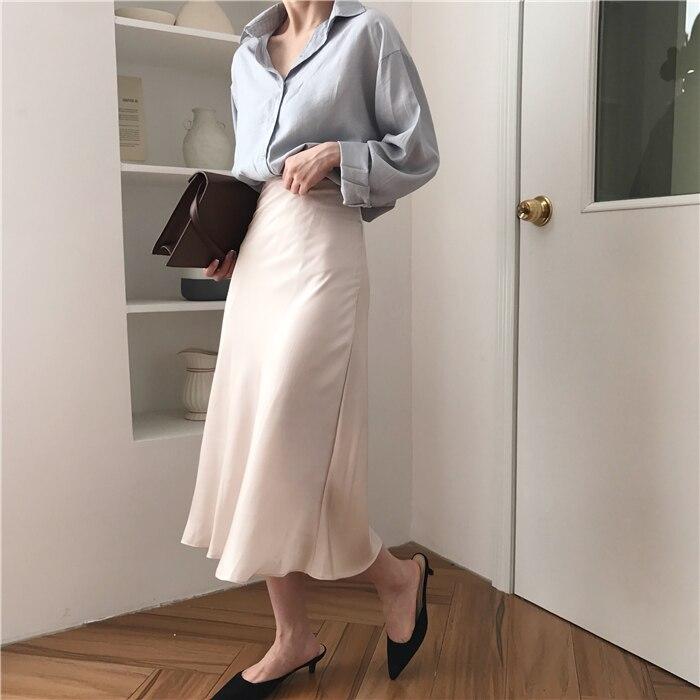 summer elegant high waist women long skirt solid A-line faldas mujer female solid slim jupe femme saia longa 7