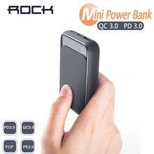 18W PD QC 3.0 10000mah Power Bank ROCK Mini LED External Battery USB PD Quick Fast Charging Powerbank For iPhone Xiaomi Samsung