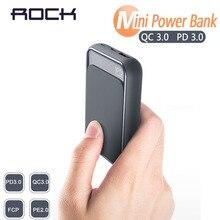18W PD QC 3.0 10000mah güç bankası ROCK Mini LED harici pil USB PD hızlı için hızlı şarj Powerbank iPhone Xiaomi Samsung