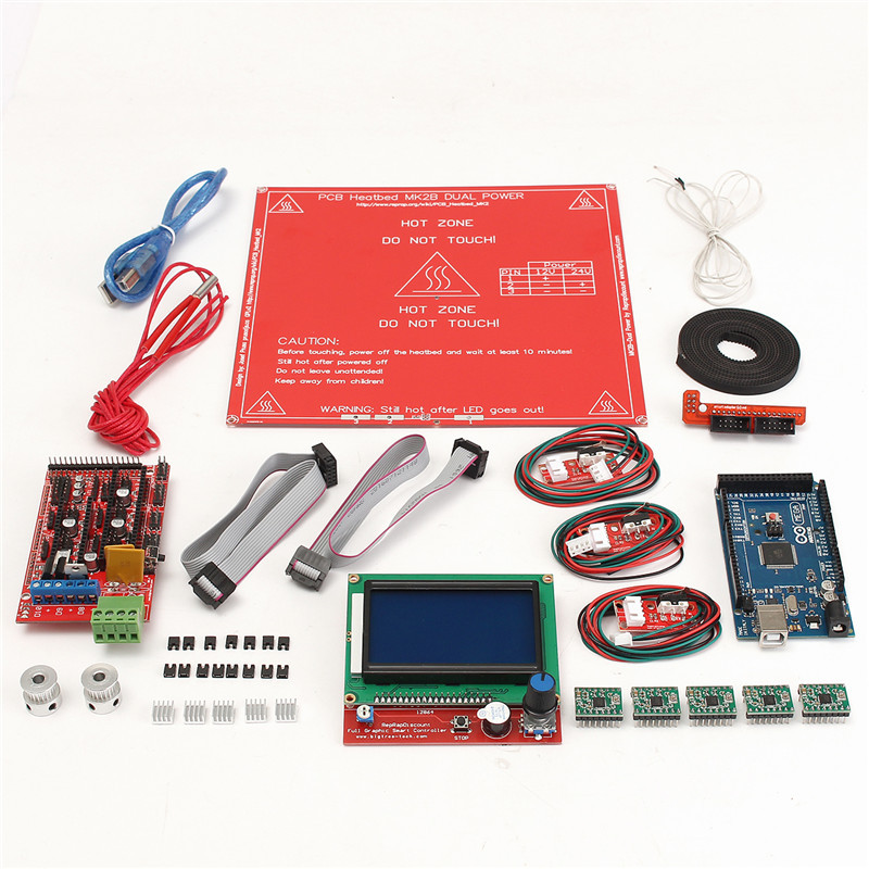 3D Printer Kit Ramps 1.4 board +12864 LCD Screen + MK2B Heatbed +A4988 motor driver +Controller For Reprap tengying l298n motor driver board for raspberry pi red