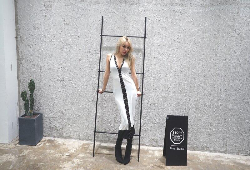 Partie Noir Dames Croupe Sexy Collection blanc Bureau Fiesta Vestidos Longueur 2017 Dress Nouveau Vent Poche Manches Cordon Et De Sans qRYwU