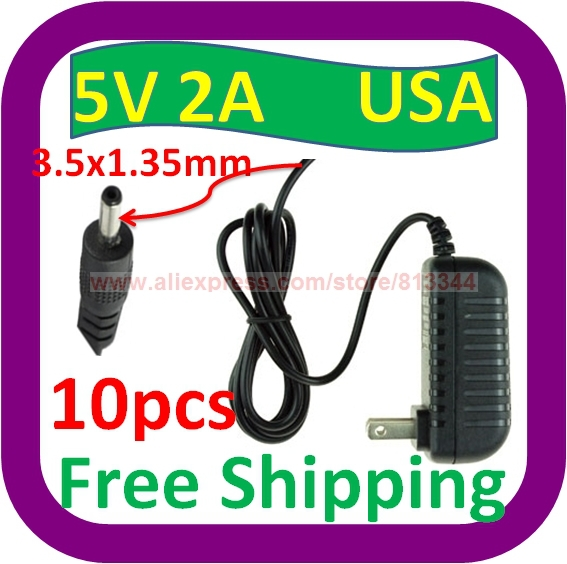 10 Stks Gratis Verzending 5 V 2a Ac Thuis Lader Power Adapter W 3.5mm Koord Voor Coby Kyros Tablet Ereader De Laatste Mode