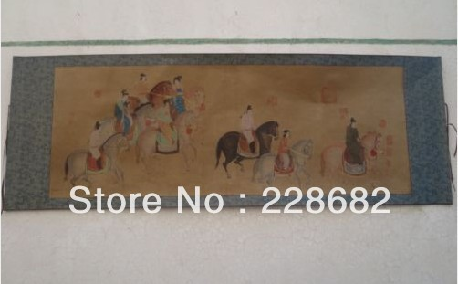 Chinese Collectable Old Scroll Painting Horse Riding Figure 190*66cm