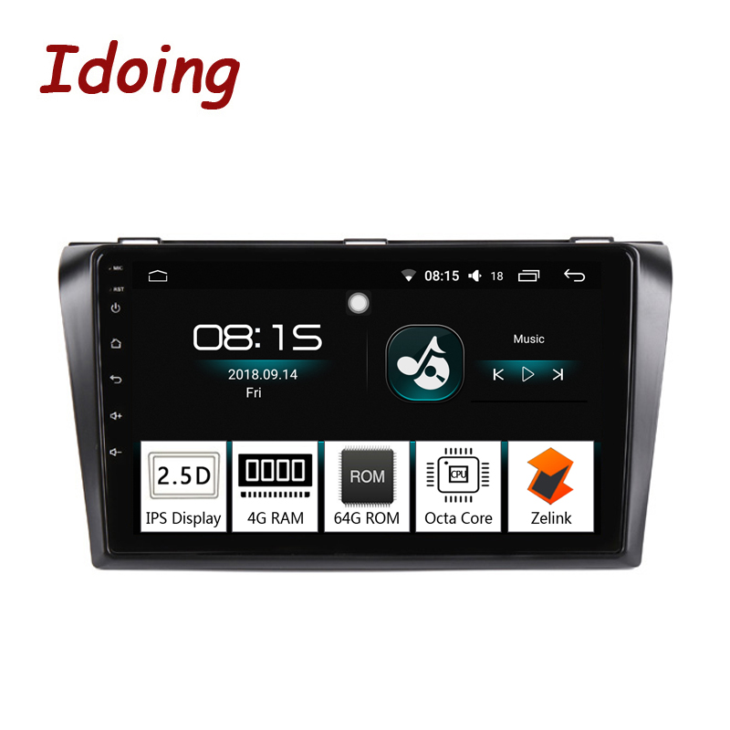 "Idoing 9""IPS 2.5D Octa Core 4G+64G 1Din Android 8.0 Car Radio audio Multimedia GPS Navigation Player For Mazda 3 2006-2012 Video"