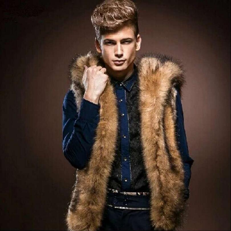 2016 New Winter Men Fur Vest Fashion Hoodie Thick Fur Hooded Men Waistcoats Sleeveless Coat Outerwear Male Clothing Coats