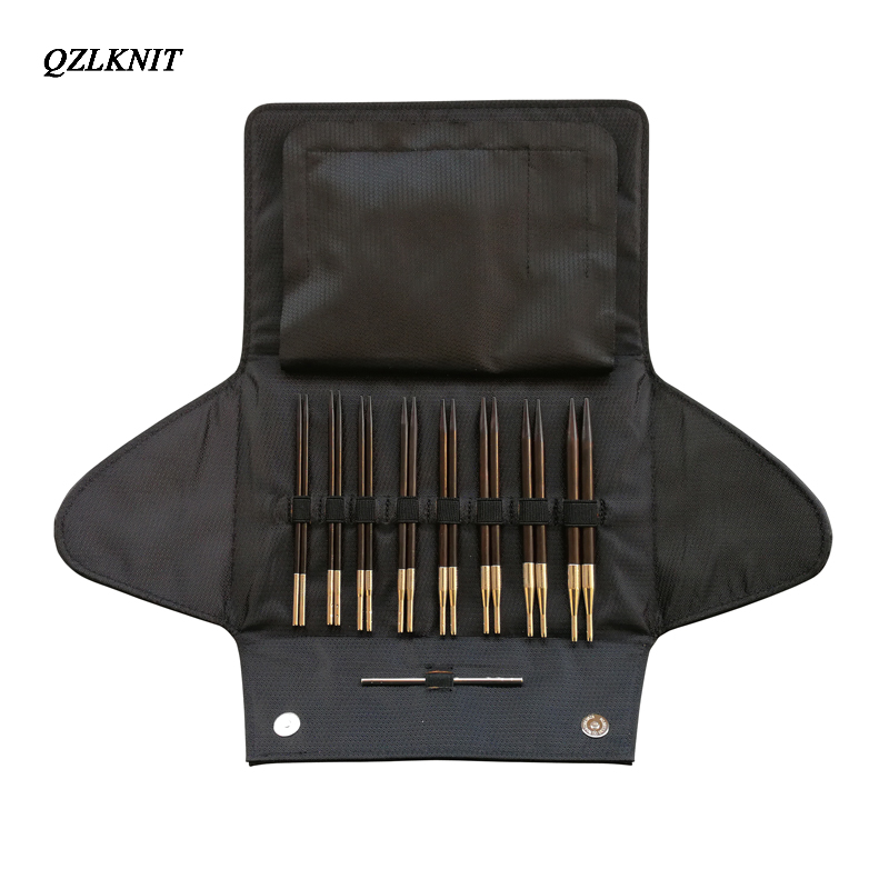 QZLKNIT Rosewood agujas de tejer conjunto de tubo de nailon aguja circular intercambiable de punto 3,5mm 8,0mm hilo DIY accesorios de punto-in Agujas de coser from Hogar y Mascotas    2