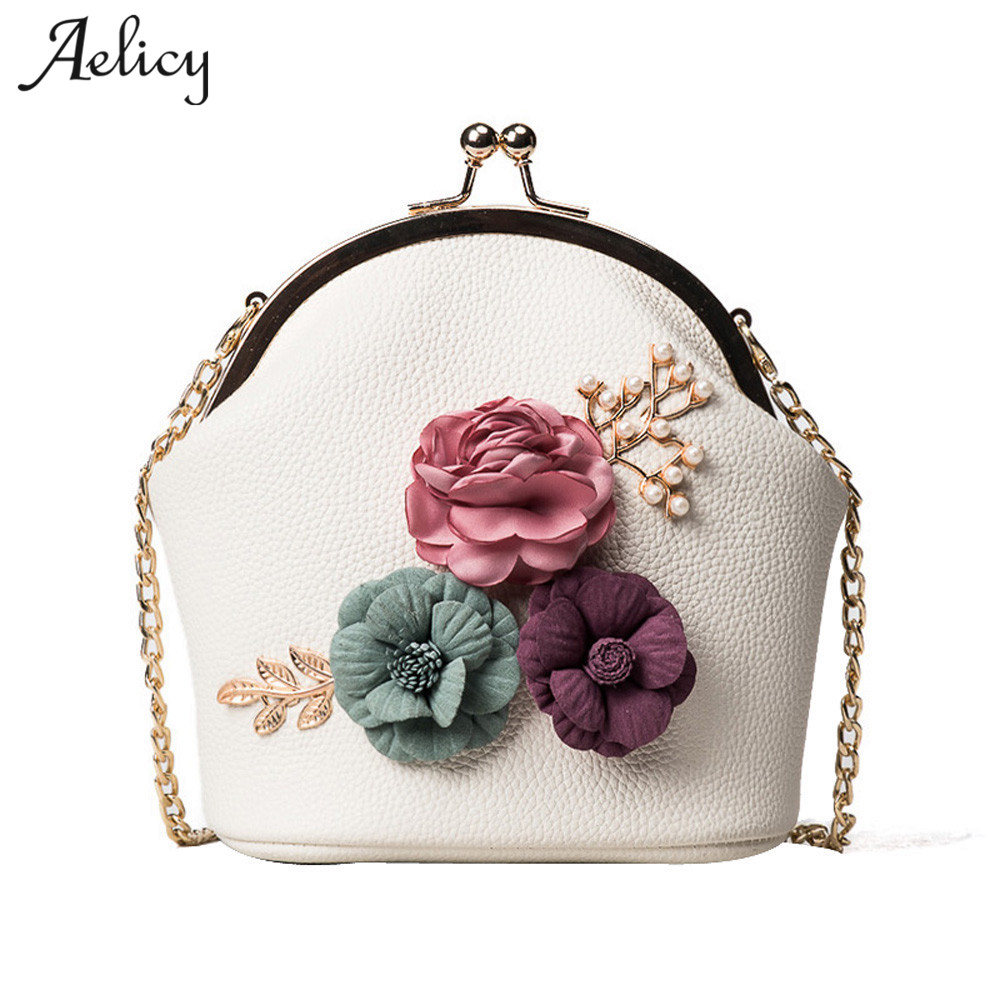Aelicy Women Fashion Shoulder Appliques Flowers Bag PU Leather Hasp Small Tote Cute Ladies Purse Messenger Crossbody Bag Handbag rdywbu brand genuine leather tote handbag 2017 women colourful flowers patchwork shoulder bag plaid messenger crossbody bag b293
