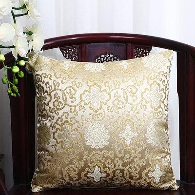 Чехол для подушки для автомобильного стула с цветами 40x40 см 45x45 см 50*50 60*60 китайские красочные диванные Декоративные Чехлы для подушек, шелковая атласная наволочка - Цвет: light yellow