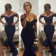 Simple Dark Blue Mermaid Prom Dresses 2016 Short Sleeves Off Shoulder V-neck Dress vestido de festa Custom made