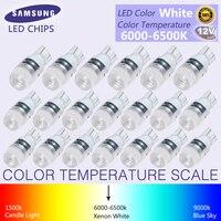 20 Stks Nieuwe Witte Super Heldere T10 LED Licht 1.5 W W5W 194 192 168 DC 12 V Auto Bulb Leeslamp Lamp Signaal licht