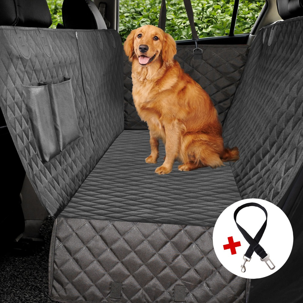 Luxury Quilted Dog Car Seat Cover Side Flap Car Travel Pet Carrier Backseat Cover Waterproof Nonslip